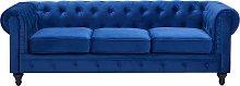 3 Seater Velvet Fabric Sofa Blue CHESTERFIELD