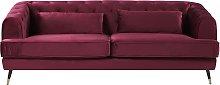 3 Seater Velvet Fabric Sofa Burgundy SLETTA