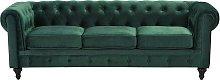3 Seater Velvet Fabric Sofa Green CHESTERFIELD