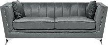 3 Seater Velvet Fabric Sofa Grey GAULA