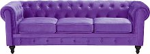 3 Seater Velvet Fabric Sofa Purple CHESTERFIELD