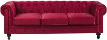 3 Seater Velvet Fabric Sofa Red CHESTERFIELD
