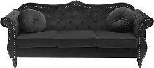 3 Seater Velvet Sofa Black SKIEN
