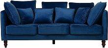 3 Seater Velvet Sofa Blue FENSTAD