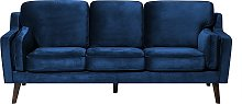 3 Seater Velvet Sofa Blue LOKKA