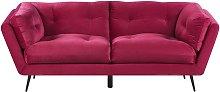 3 Seater Velvet Sofa Burgundy LENVIK