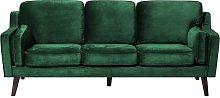 3 Seater Velvet Sofa Green LOKKA