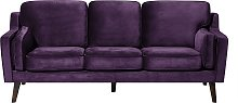 3 Seater Velvet Sofa Purple LOKKA