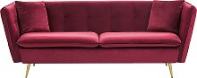 3 Seater Velvet Sofa Red FREDERICA