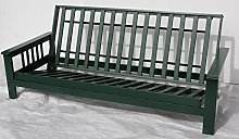 3 seater wood wooden futon frame only.Green
