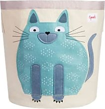 3 Sprouts - Blue Cotton Canvas Cat Storage Bin - blue | Cotton Canvas - Blue/Blue