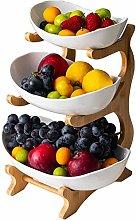 3-Story Fruit Basket Bamboo Frame, Ceramic Table