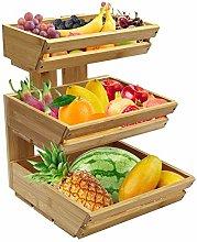 3-Tier Bamboo Countertop Fruit Basket Holder