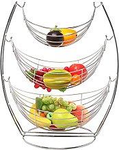 3 Tier Chrome Triple Hammock Fruit / Vegetables /