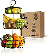 3 Tier Fruit Basket - French Country Wire Basket