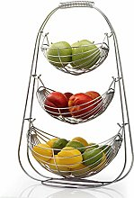 3 Tier Fruit Vegetable Swinging Chrome Basket Bowl