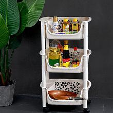 3 Tier Plastic Shower Shelf Kitchen Trolley Fruits