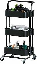 3-Tier Rolling Cart Metal, Storage Shelves Metal,
