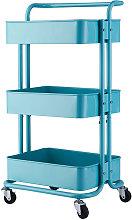 3-Tier Rolling Cart, Metal Storage Trolley Shelf