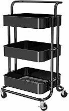 3-Tier Rolling Utility Cart, Storage Cart Metal,