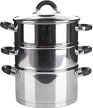 3 Tier Stainless Steel Food Veg Steamer Set 28cm