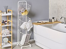 3 Tier Wire Basket Stand White Metal with Castors