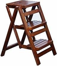 3 Tread Ladder Wooden Step Stool/Chair, Folding