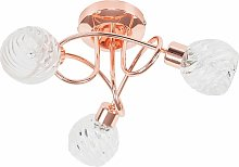 3 Way Flush Ceiling Light with Swirled Glass