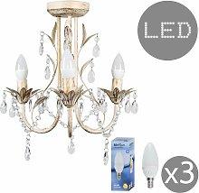 3 Way LED Chandelier with Acrylic Jewel Beads +