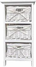 3 White Basket Drawer Bathroom Storage Unit