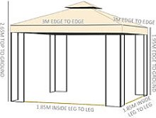 3 x 3m Gazebo Metal Marquee Party Tent Canopy