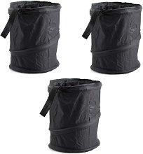 3 x Black Foldable Car Trash Can Waterproof Trash