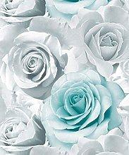 3 x Glitter Aqua Wallpaper Flower Floral Large