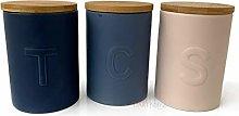 3 x Kitchen Tea Coffee Sugar Blue & Pink Jar