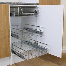 3 x KuKoo Kitchen Pull Out Storage Baskets –