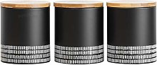 3 x Monochrome Kitchen Storage Canisters - Ideal
