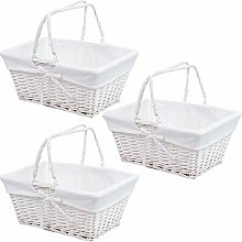 3 x Traditional Shopping Basket with Folding