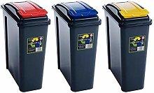 3 x Wham 25L Slimline Home Trash Waste Plastic