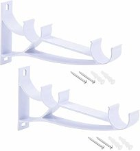 3 x White Aluminium Alloy Curtain Pole Bracket