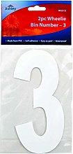 3 X White Self Adhesive Wheelie Bin Numbers 17cm