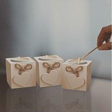 3 x White Wooden Rustic Shabby Chic Love Heart Tea