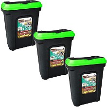3 XPET FOOD STORAGE CONTAINER BLACK. HOLDS 15.5KG.