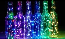 30-LED Copper Wire Bottle String Lights: Pink and
