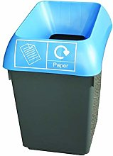 30 Litre Recycling Bin With Blue Lid & Paper Logo