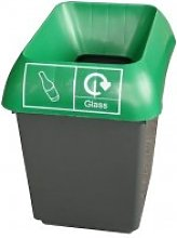30 Litre Recycling Bin With Green Lid & Glass Logo