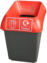 30 Litre Recycling Bin With Red Lid & Plastic