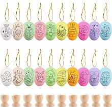 30 Pcs Easter Eggs Wooden Egg Cups Set,20 Pcs