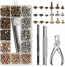 300 Rivets Gun Nut Tool Kit Set Copper Leather