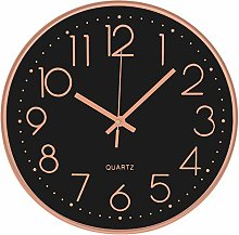 30CM Black Rose Wall Clock Silent Large Non