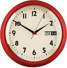 30cm Day / Date Wall Clock Symple Stuff Colour: Red